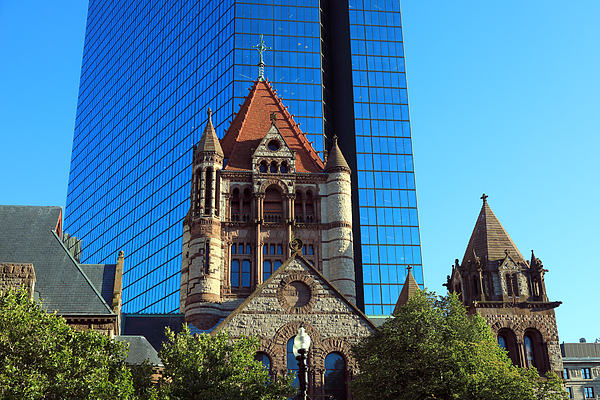 Trinity Church In Front Of The Shiny Metallic Facade Of 200 Clarendon, The Former John Hancock Tower Photograph by Rainer Grosskopf