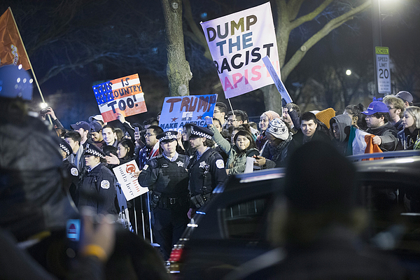 Trump Rally Postponed Amid Protests Photograph by Scott Olson