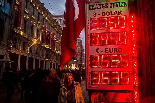 Turkish Lira Continues To Fall As EU Suspends Turkeys Membership Talks Photograph by Chris McGrath
