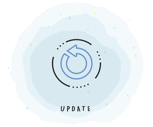 Update Icon with Watercolor Patch Drawing by Enis Aksoy