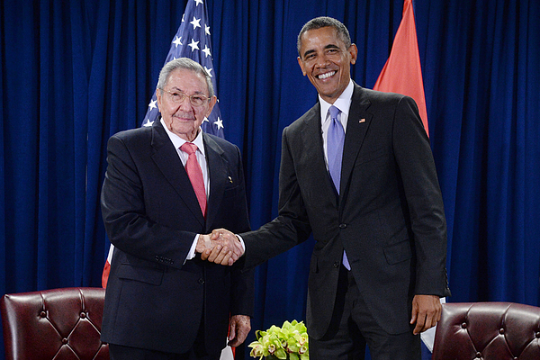 U.S. President Barack Obama Meets With President Raul Castro Of Cuba Photograph by Pool