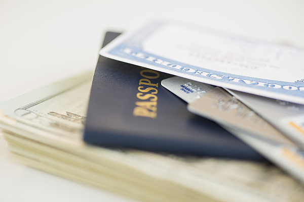 USA, New Jersey, Jersey City, Close of up passport and Social Security Card Photograph by Tetra Images