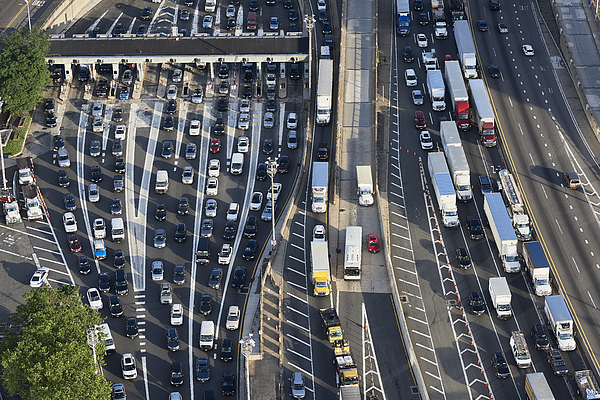 USA, New Jersey, rush hour traffic at Fort Lee in the morning, aerial view Photograph by Westend61