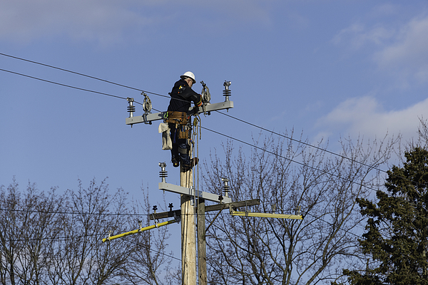 Utility Worker on Pole Photograph by RiverNorthPhotography