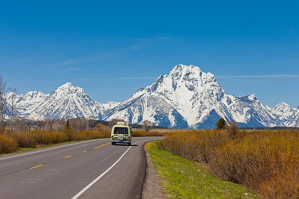 Van On Highway, Grand Teton National Park Photograph by Amit Basu Photography