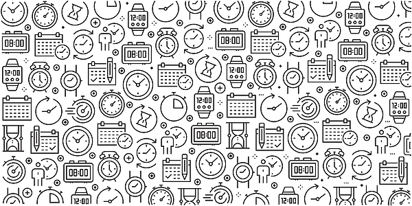 Vector Set Of Design Templates And Elements For Time Related In Trendy Linear Style - Seamless Patterns With Linear Icons Related To Time Related - Vector Drawing by Cnythzl