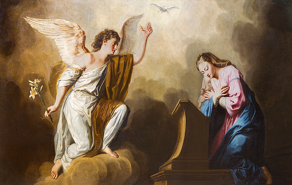 Vienna - The Annunciation paint in presbytery of Salesianerkirche church Photograph by Sedmak