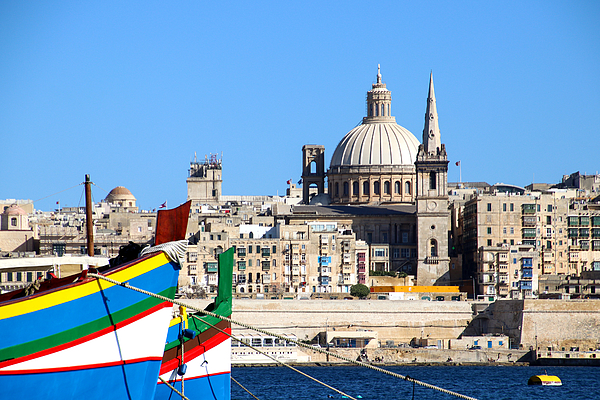 View from Sliema on Valletta across the bay, Malta Photograph by Frans Sellies