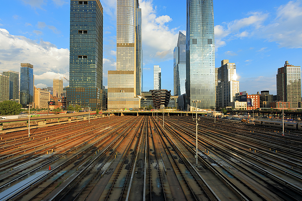 View from the Husdon side at the skyscrapers of Hudson Yards Photograph by Rainer Grosskopf