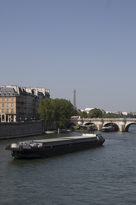 view of Paris, barge on the Seine in front of the Pont Neuf Photograph by Photo and Co
