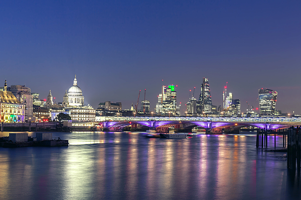 View of St Pauls Cathedral and City of London at night Photograph by _ultraforma_