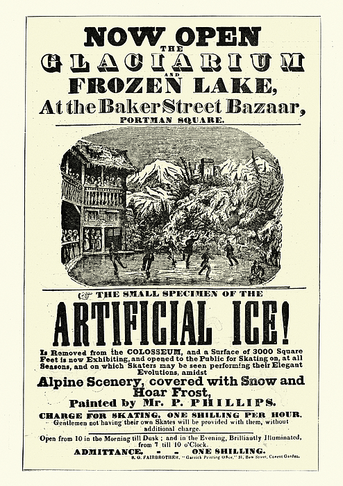 Vintage poster for Glaciarium, worlds first mechanically frozen ice rink Drawing by Duncan1890