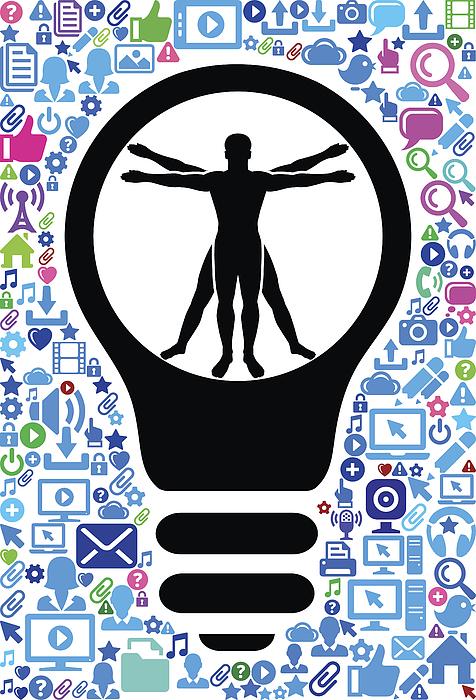 Vitruvian Man Human Anatomy Technology Web Vector Background Pattern Drawing by Bubaone