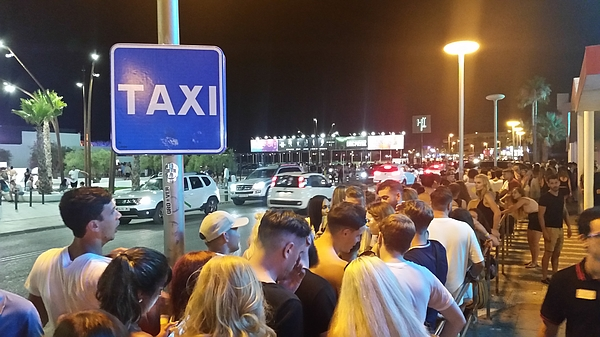 Waiting for taxis At rush hour Ibiza Spain Photograph by tzahiV