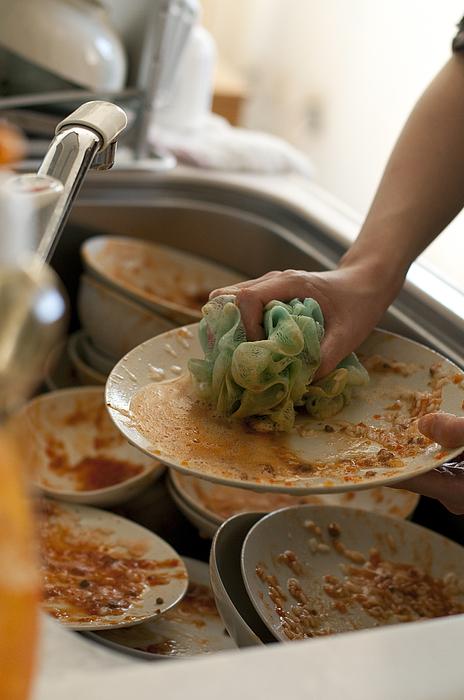 Washing dishes with sponge Photograph by Artparadigm
