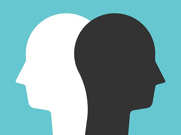 White, black head silhouettes Drawing by Dmitrii_Guzhanin