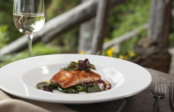 Wild Salmon Fillet With Greens Photograph by Jon Lovette