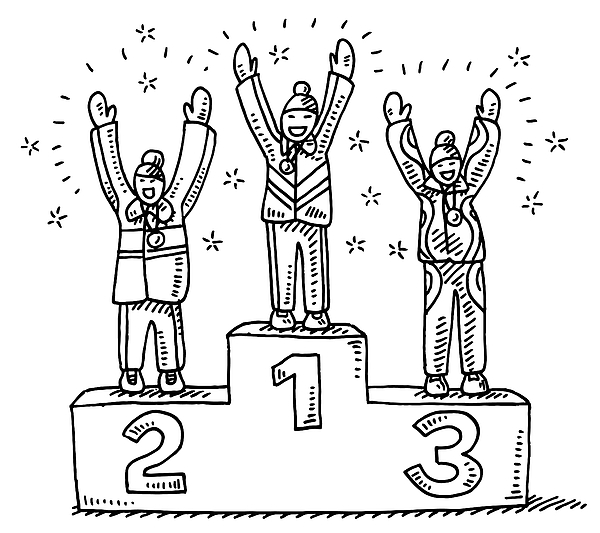 Winners Podium Winter Sport Drawing Drawing by FrankRamspott