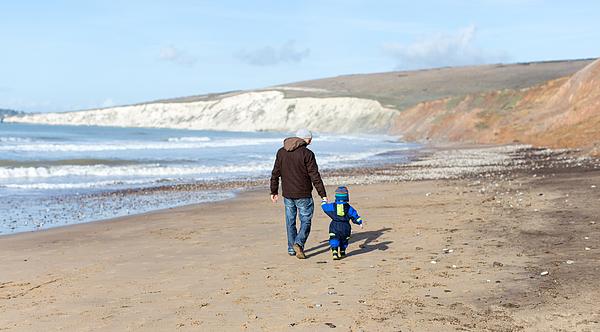 Winter Beach Walk with Dad Photograph by s0ulsurfing - Jason Swain