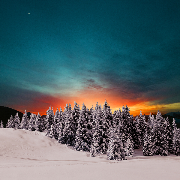 Winter sunset in the mountains Photograph by Cunfek