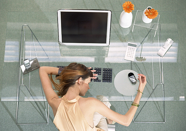 Woman Leaning Head On Desk With Futuristic Devices, High Angle View Photograph by Coco Marlet