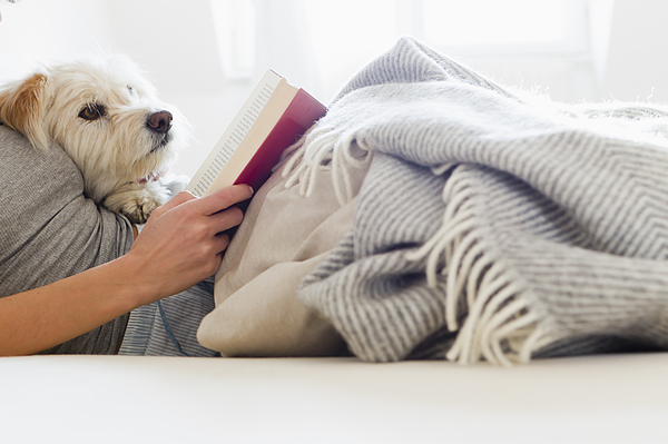Woman reading in bed with dog Photograph by Emely