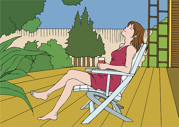 Woman sitting crossed leg at knee, closing eyes, side view Drawing by Daj