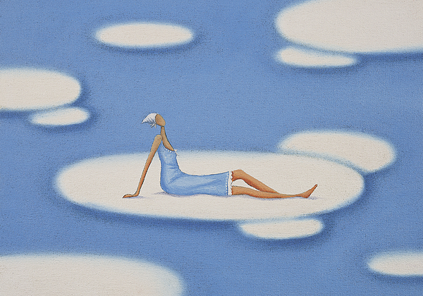 Woman Sitting on a Cloud in the Sky Drawing by Mandy Pritty