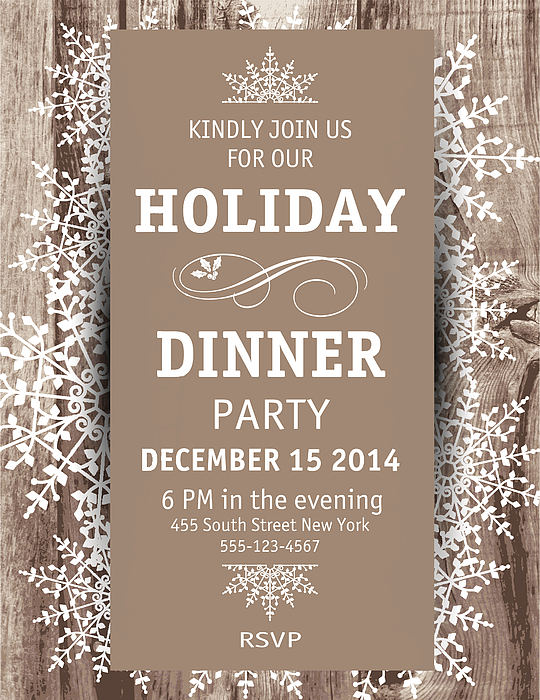 Wood Snowflake Christmas Dinner Invitation Template Drawing by Diane Labombarbe