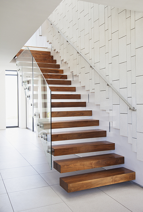 Wooden Stairs In Modern House Photograph by Robert Daly