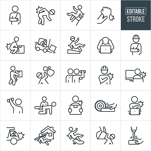 Workplace Injury Thin Line Icons - Editable Stroke Drawing by Appleuzr