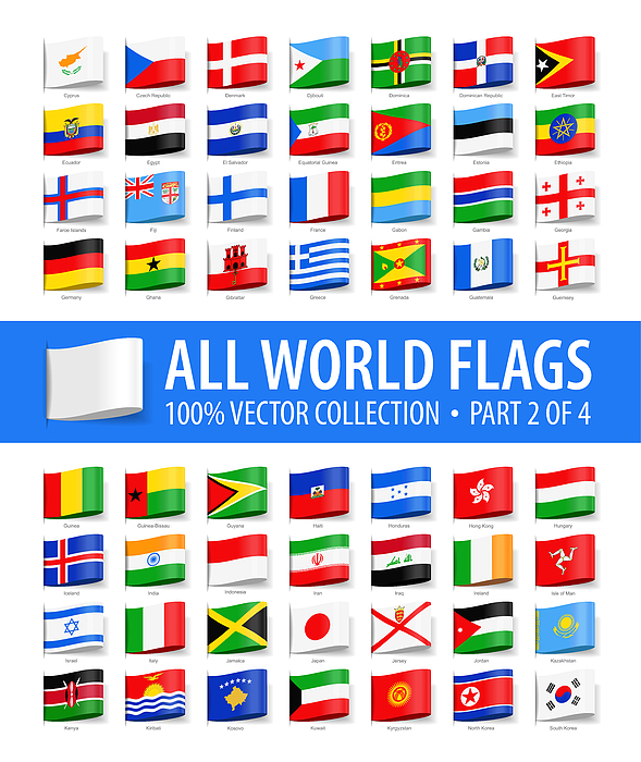 World Flags - Vector Tag Label Glossy Icons - Part 2 Of 4 Drawing by Pop_jop