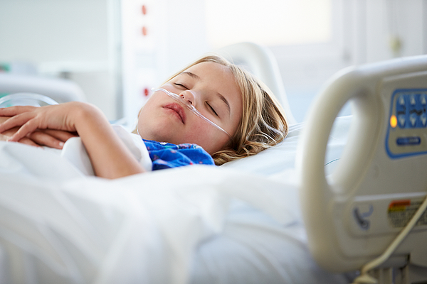 Young Girl Sleeping In Intensive Care Unit Photograph by Monkeybusinessimages