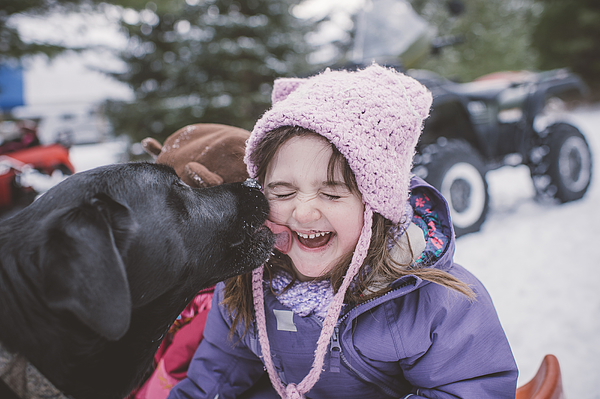 Young girl with dog in snowy landscape, dog licking girls face Photograph by Jenn Austin-Driver (Photography)