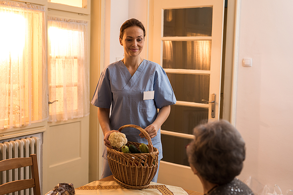 Young Home Caregiver Nurse Delivered Food To Senior Womens Home Photograph by StockPlanets