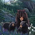 Bears On Snow Peak Painting by Michael Bartlett