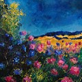 Blue And Pink Flowers by Pol Ledent