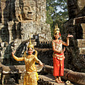 Cambodian Dancers At Angkor Thom by Michele Burgess