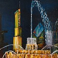 Chicago Skyline Buckingham Fountain Sears Tower Trump Tower Aon Building by Oil Paintings Chicago By Gregory A Page