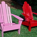 colorful Adirondack chairs by Sally Weigand