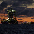 Drill Rig At Dusk by Charles and Melisa Morrison