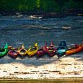 Kayaks In A Row by Faith Harron Boudreau