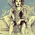 La Femme Qui Fume Apres Kevin Montague by Contemporary Luxury Fine Art