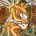 Lovers Kissing Each Other Under A Blooming Tree by Vasile Movileanu