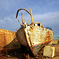 Old Dilapidated Wooden Boat  by Ofer Zilberstein