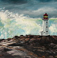Peggy's Cove Lighthouse Hurricane by Patricia L Davidson