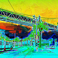 San Francisco Embarcadero And The Bay Bridge by Wingsdomain Art and Photography