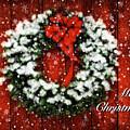 Snowy Christmas Wreath Card by Lois Bryan