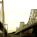 The Two Carquinez Bridges At Crockett And Vallejo California . Aka Alfred Zampa Memorial Bridge . 7d8830 by Wingsdomain Art and Photography
