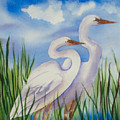 Twin Egrets by Ruth Bevan